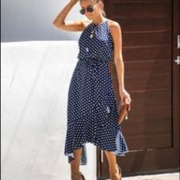 Vici asymmetrical polka dot dress